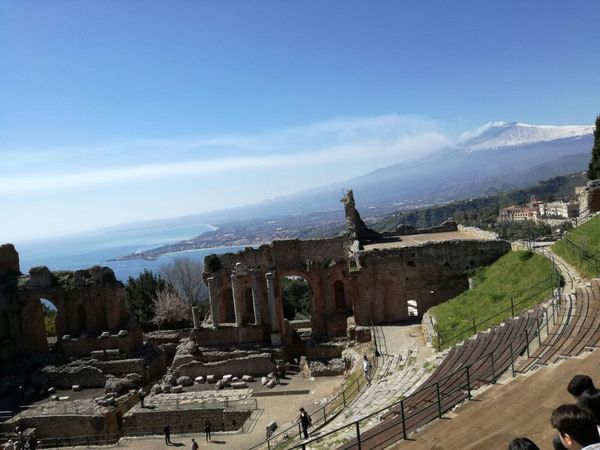 History Architecture Built Structure Sky Old Ruin Building Exterior Ancient Ruined Travel Destinations The Past Ancient Civilization Tourism Bad Condition Outdoors Day Tree No People Nature Akropolis Vulcan Tranquility Etna Teather Teatro Romantic Sky