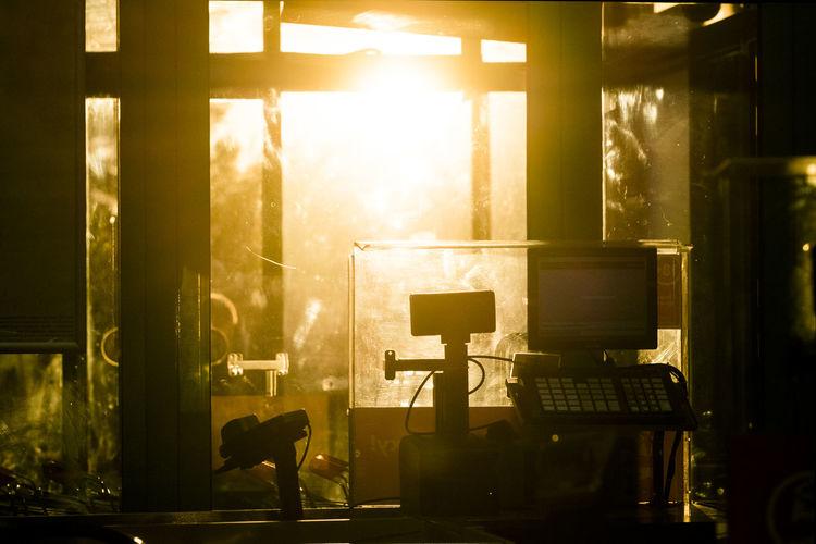 Sunlight streaming through store window