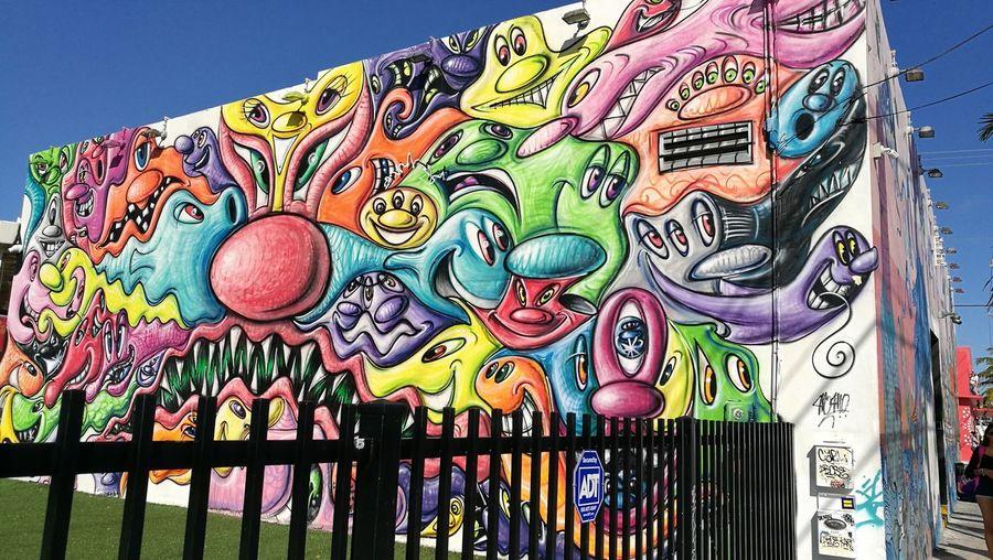 Multi Colored Outdoors Sky No People Day Art Deco District Miami, FL Graffiti