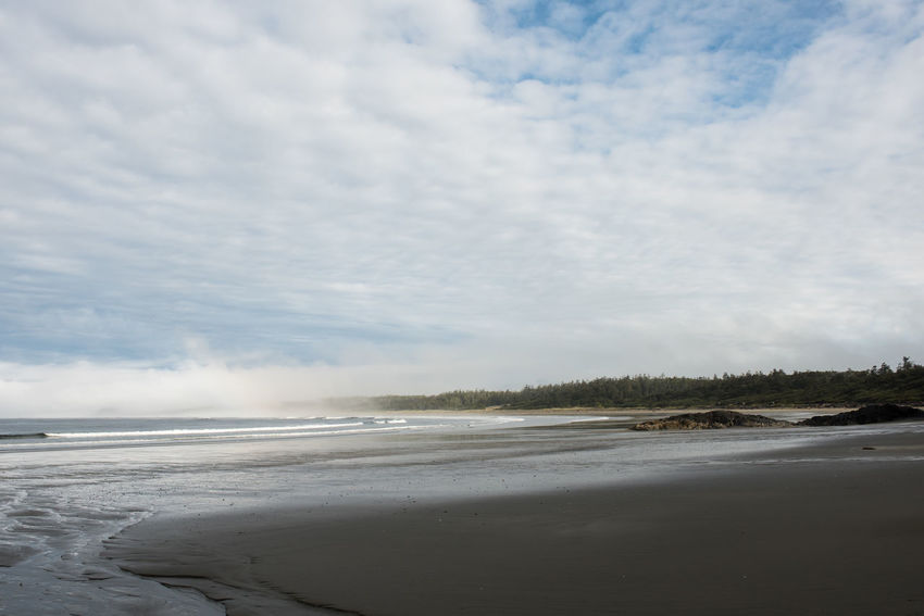 The morning clouds and fog start to break on over Long Beach in Tofino, British Columbia. Beach Beauty In Nature British Columbia Cloud - Sky Day Horizon Over Water Morning Light Nature No People Outdoors Pacific Northwest  Pacific Ocean Pacific Rim PNW Sand Scenics Sea Sky Tofino Tranquil Scene Tranquility Tree Water