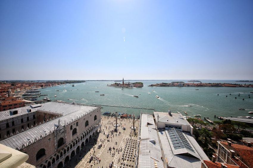 St Mark's Square St Mark's Tower St Mark's Square St Mark's Tower Venice Canals Venice, Italy Architecture Beach Blue Building Exterior Built Structure City Cityscape Clear Sky Day High Angle View Horizon Over Water Nature Nautical Vessel No People Outdoors Sea Sky Travel Destinations Water