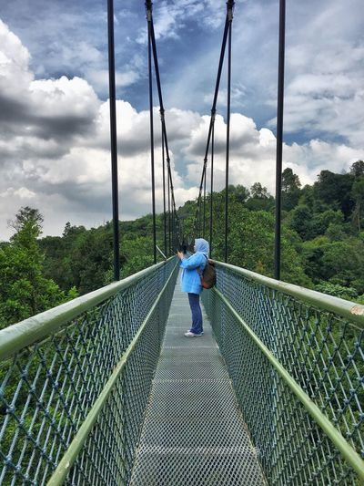 Woman Photographing While Standing On Bridge At Macritchie Reservoir Park