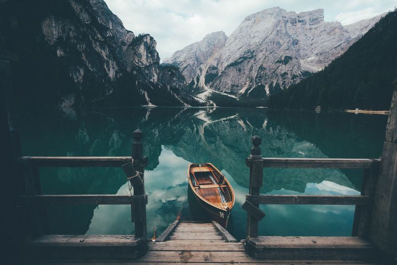 At the boathouse again Sunrise Explore Travel VSCO Photography EyeEm Best Shots Travel Destinations Mountain Range Dawn Vscocam Exploring Landscape Leisure Activity Earth Mountain Rural Nature Summer Outdoors Vacations Traveling Dolomites, Italy Italy