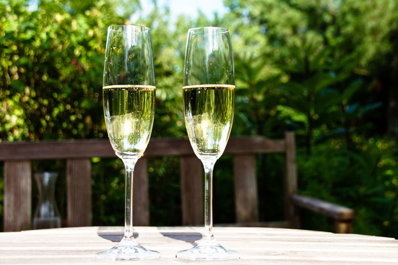 Champagne Flutes On Table