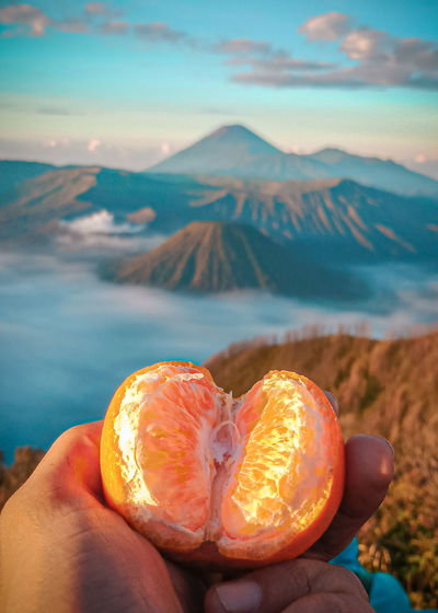Midsection of person holding apple against mountain