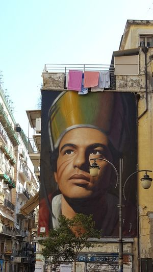 Jorit Agoch San Gennaro Napoli Naples Street Art Street Photography Hand Painted On Wall With Spray Cans Hand Painted Spray Can Art Outdoors Portrait No People Italia Italy Mix Yourself A Good Time The Week On EyeEm Adventures In The City