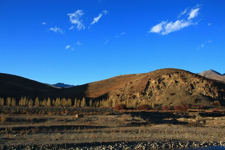 Scenery of the Tibetan Plateau Outdoors Nature Photography Country Countryside Impression Mountain Range Scene Scenic Scenery Scenics - Nature View Travel Famous Place Horizon Nopeople Day Field Panorama Horizon Plant Valley Astronomy Tree Agriculture Mountain Rural Scene Blue Sky Landscape Cloud - Sky