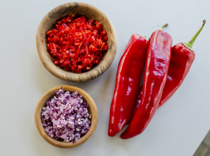 Food And Drink Food Red Pepper Freshness Chili Pepper Vegetable Indoors  Spice Still Life No People Healthy Eating Red Chili Pepper Close-up Bowl Ingredient Wellbeing High Angle View Studio Shot Directly Above