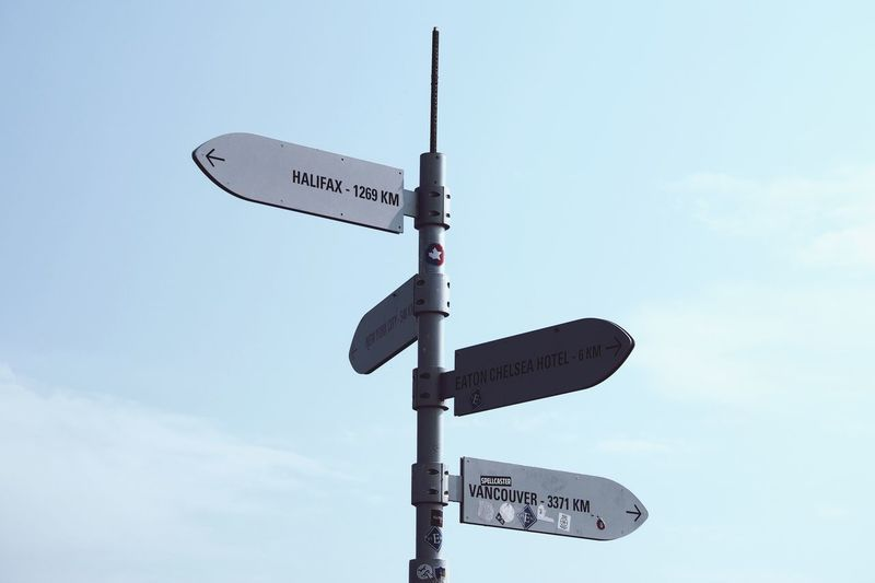 Low Angle View Of Road Signs Against Sky