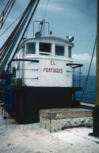 on board El Portuguese Bridge Of The Trawler El Portuguese Hatch Day Deck Horizon Over Water Nature No People Outdoors Rigging Sea Sky Water