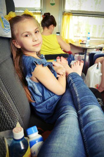 Relaxing My Sister Child Girl Travel Happy Smile Enjoying Life Train Memory