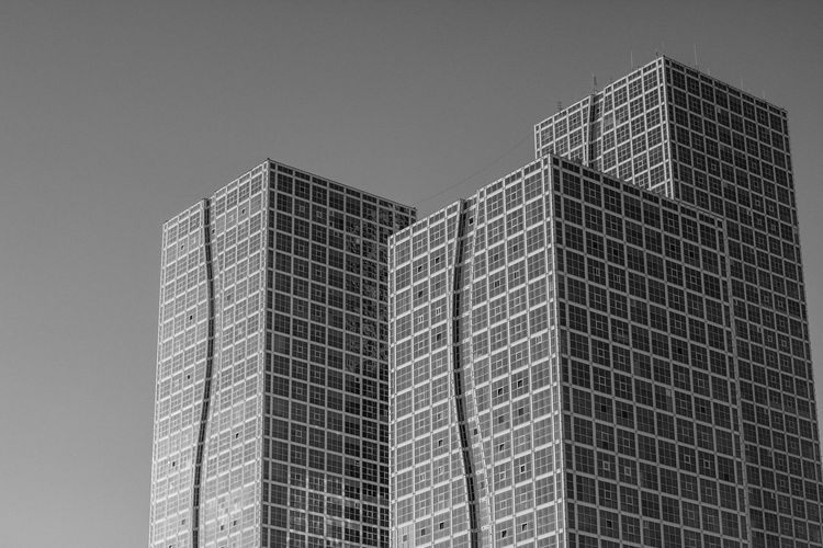 Black and White Capital Astana Kazakhstan Architecture Black And White Building Building Exterior Built Structure Capital Cities  Clear Sky Day Geometric Shape Low Angle View Modern No People Outdoors Sky Skyscraper