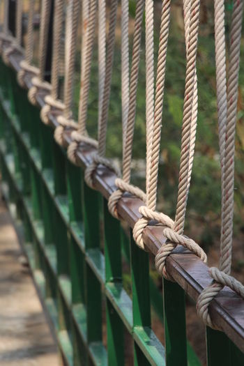 Close-up of rope tied to railing