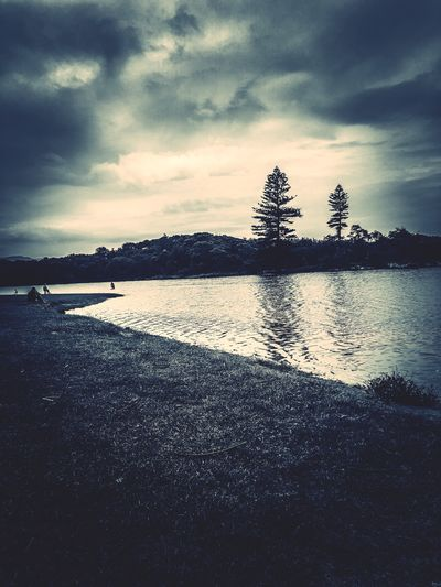 Mood Trees River Photography EyeEm Picoftheday EyeEm Gallery Beauty In Nature Outdoors EyeEm Selects Sky Cloud - Sky Water Tranquility Nature Beauty In Nature Tranquil Scene Scenics - Nature Silhouette No People Sea Beach Reflection Land Outdoors Dusk Architecture