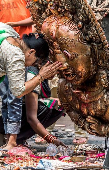 Adult Adults Only Believe Culture Day God Hindu Kathmandu Living Godess Kumari Of Nepal Nepal Outdoors People Praying Real People Togetherness Two People Worship