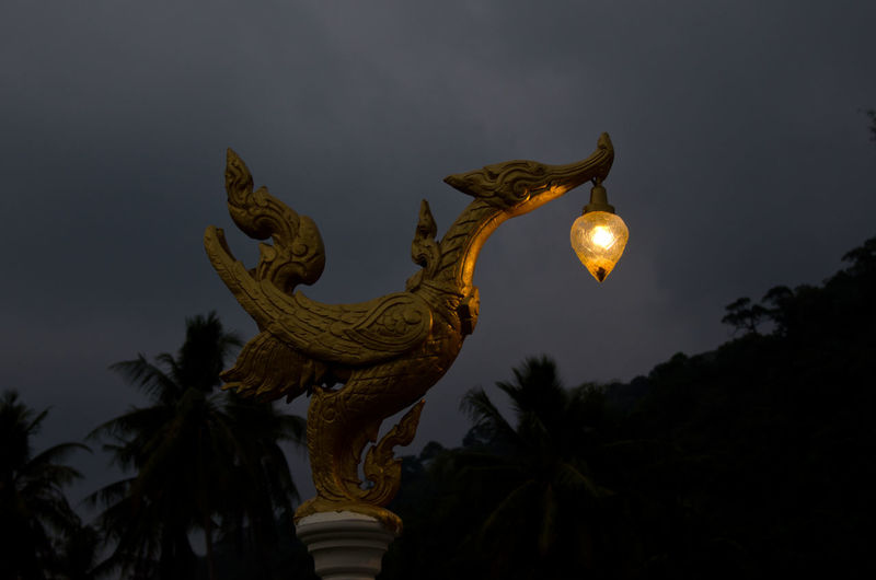 Asian lantern Animal Animal Representation Art Art And Craft ASIA Asian  By Night Carving - Craft Product Cultures Koh Chang Lamp Lantern Light Low Angle View Night Nightphotography Sculpture Statue Statue Thailand