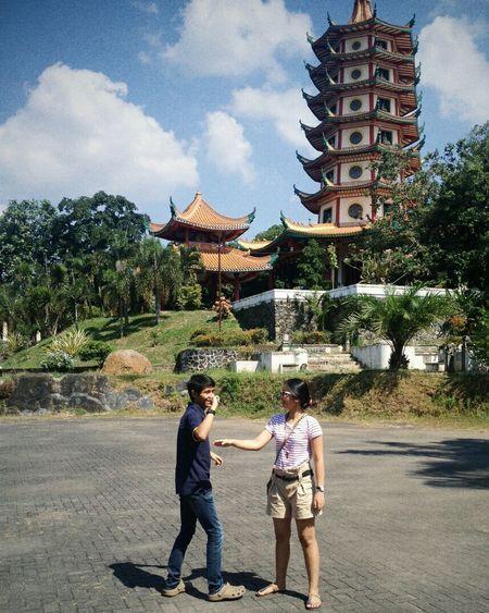Teasing her twin brother Faces Of Summer Picnic Siblings Pagoda Buddhagaya Semarang Explore Semarang INDONESIA