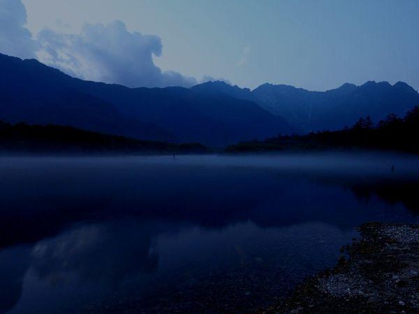 Hotaka Mountain Range Taishoike Lakeside Evening View Views Of The Hotaka Mountain Range Of From Taishoike Lake Surface, Such As A Mirror Evening Mist Kamikouahi Japan Taishoike Lakeside