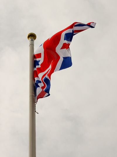 GB Great Britain UK Flag Union Flag United Kingdom Day Flag Low Angle View No People Outdoors Patriotism Uk UK Flag Union Jack Union Jack Flag Union Jack Flags Against Sky