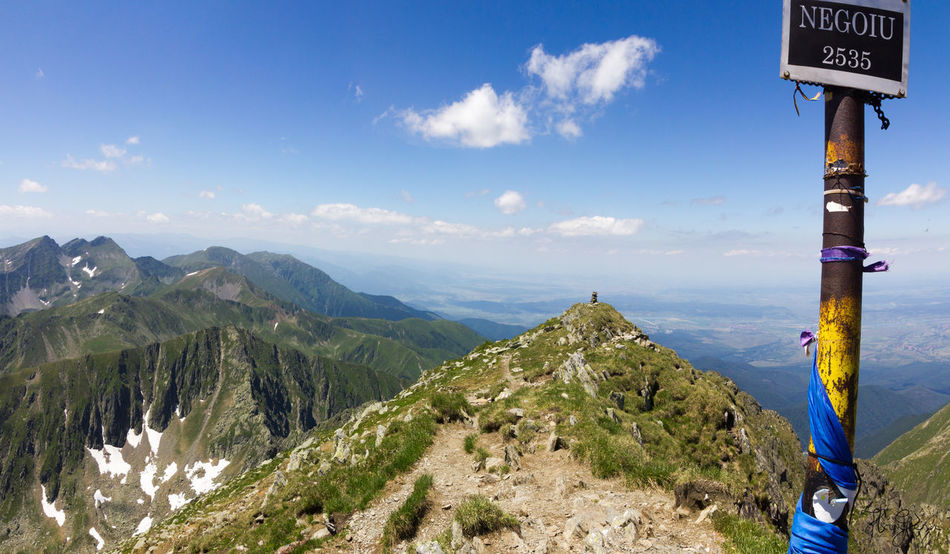 Peak Negoiu, Transylvania Beauty In Nature Communication Day Mountain Nature No People Outdoors Road Sign Scenics Sky