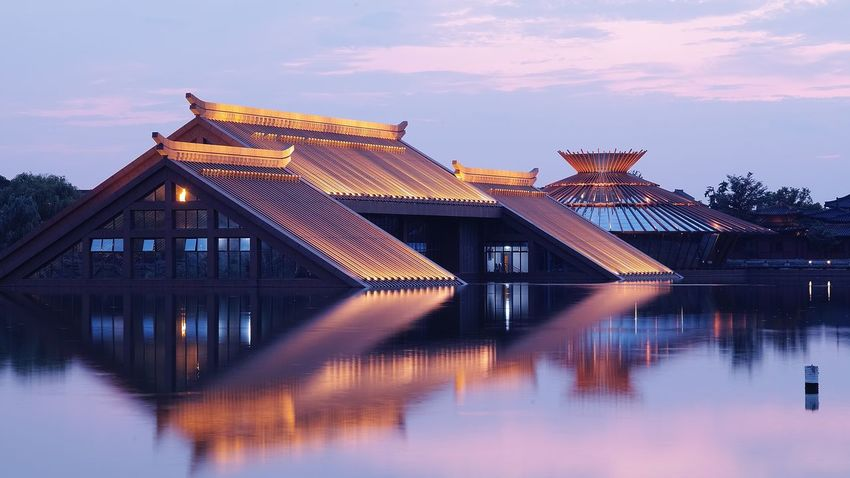 上海松江广富林遗址 Architecture Built Structure Illuminated Building Exterior Water Sky Reflection