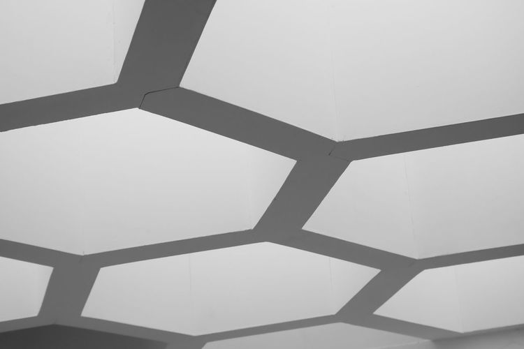 Pattern Indoors  Shape Geometric Shape No People Low Angle View Design Architecture Hexagon Day Built Structure Full Frame Backgrounds Close-up Sky Clear Sky Ceiling Metal White Color Skylight Directly Below