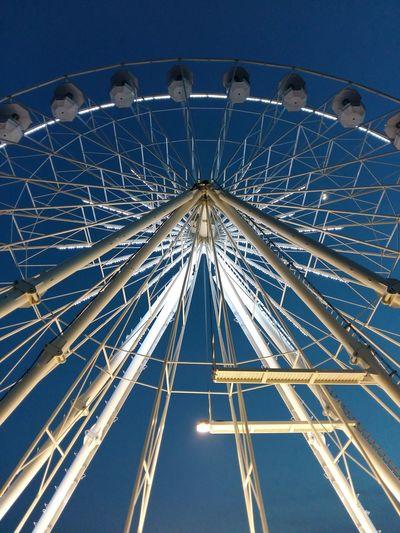 ferris wheel , night Ferris Wheel Amusement Park Ride Blue City Arts Culture And Entertainment Amusement Park Concentric Traveling Carnival Above Sky
