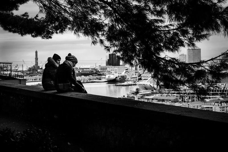 Genova Black & White Genoa Blackandwhite Photography Built Structure Day Friendship Landscape Lanterna Di Genova Lifestyles Outdoors Sitting