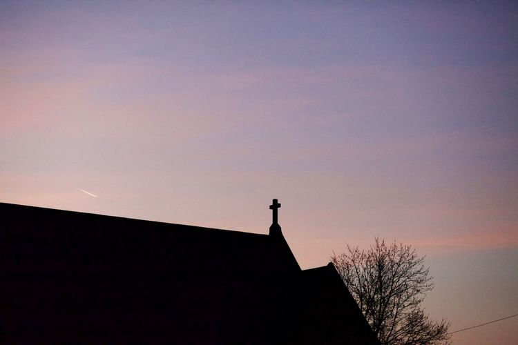 Architecture Church Cross Hope Pink Religion Silhouette Sky Sunset