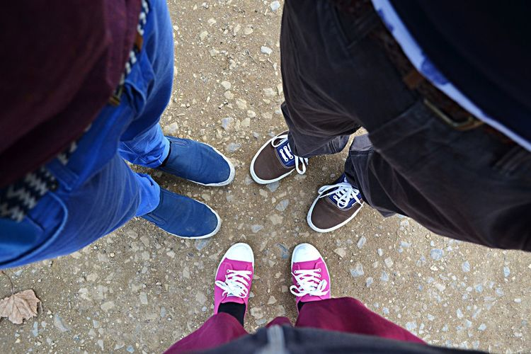 Low section of people wearing canvas shoes standing on field