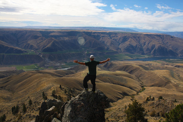 Above it all. Above It All Above The Clouds Arms Outstretched Basin Basin And Range Columbia River Columbia River Gorge Desert Immersed In Nature Immersion Majestic Majestic Nature Man On A Cliff Outstretched Taking It All In Taking It In