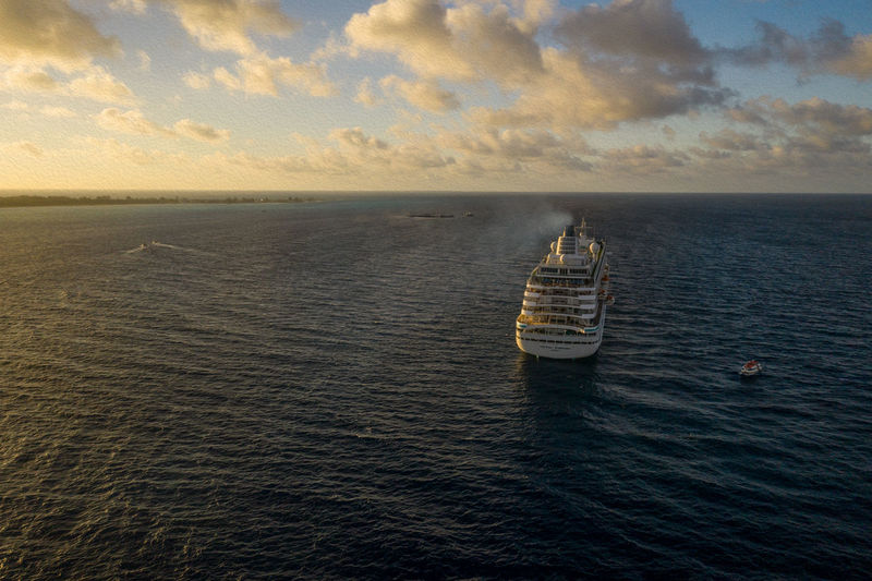 First Port Of Call Sea Water Horizon Horizon Over Water Sky Scenics - Nature Nautical Vessel Transportation Mode Of Transportation Beauty In Nature Sunset Luxury Ship Outdoors No People Cloud - Sky Sunrise Bimini Travel Travel Destinations