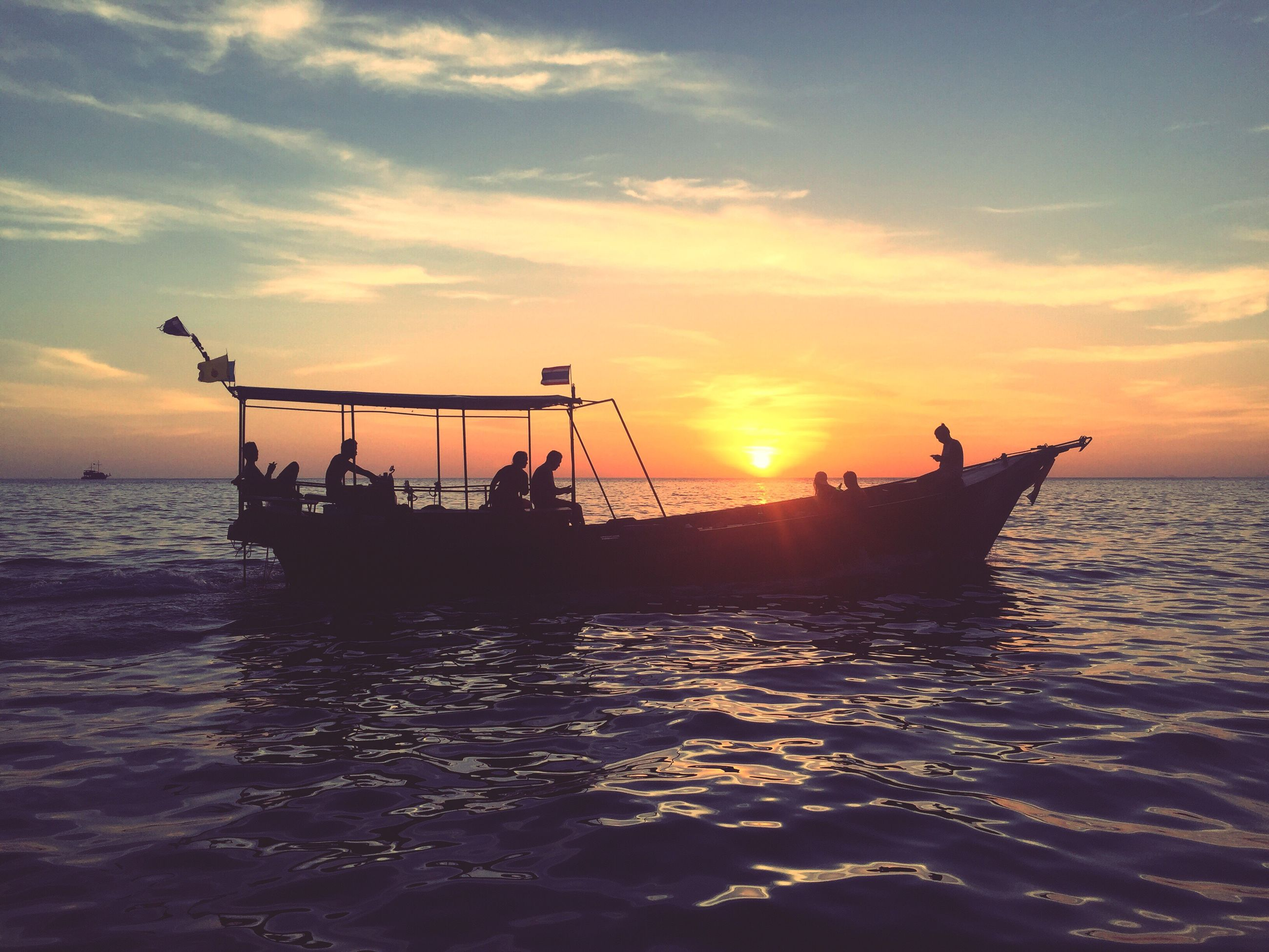 sunset, sea, water, nautical vessel, transportation, outdoors, cloud - sky, sky, nature, no people, day