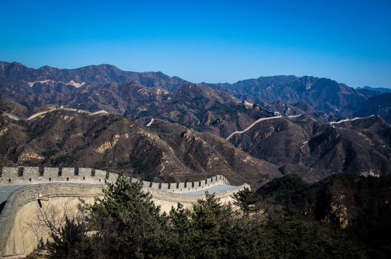 View Of Great Wall Of China And Mountains Against Clear Blue Sky