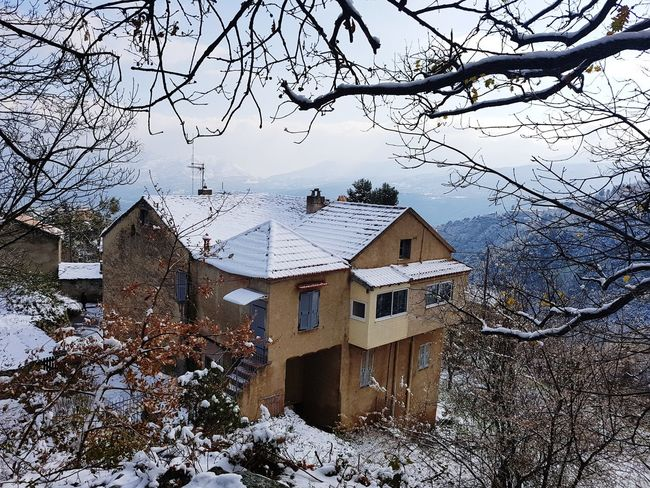 House Corsica Snow Winter Building Exterior House Architecture Built Structure Tree No People Cold Temperature Outdoors Day Nature Sky