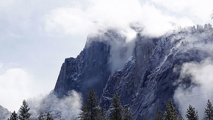 Low angle view of mountains at yosemite national park against sky