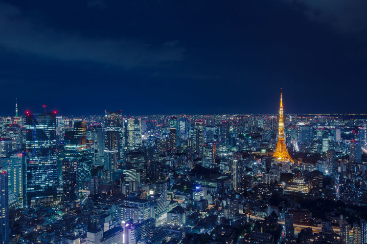 Aerial view of tokyo tower with cityscape at night