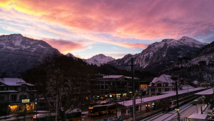 Buongiorno Sunrise Switzerland Berner Oberland Bernese Oberland Morning Light cityscapes Purple Purple Sky Baellehoechscht Jungfrau Eye4photography  Mountain Snow Train - Vehicle Winter Steam Train Illuminated City Rail Transportation