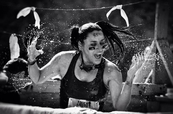 Tough Mudder: jumping into iced tank... Tough Mudder Ice Sports Photography Captured Moment Obstacles Blackandwhite Monochrome https://toughmudder.com
