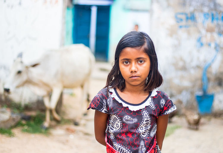 Child Childhood Girls Portrait Women Standing Front View Females Real People Waist Up Innocence Casual Clothing Looking At Camera Rural Girl Rural Indian Girl Indoors  Village Life Curious Girl Portrait Indian Villager Desi