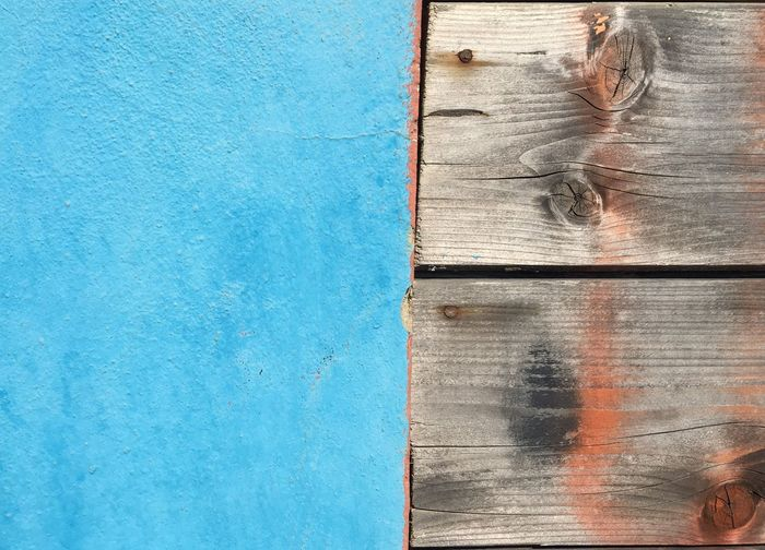 Wood - Material Backgrounds Outdoors No People Textured  Wood Blue Color Concrete Wall Paint Blue Paint Concrete & Wood Textures And Surfaces