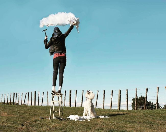 How clouds are made Clouds Poodle Standard Poodle Leisure Activity Lifestyles Full Length Casual Clothing Playing Field Person Relaxation Day Grassy Carefree Outdoors Sky Young Adult