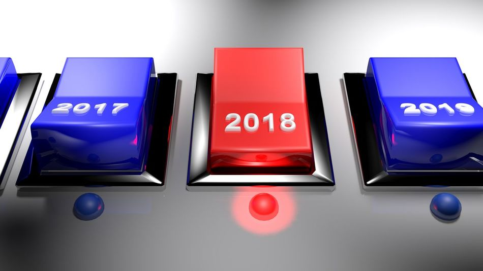Series of switches to select the year: 2018 is selected 2018 3D Choice Date LED Starting A Trip Switch Activation Active Calendar Choose Concept Electronics Industry Illustration Rendering Select Selected For Premium Selection Start Year