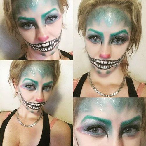 Close up of Halloweenmakeup Cheshirecat TimBurtonStyle Spoopytime Halloween Makeup Makeupartist Closeup