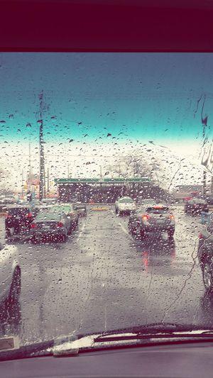 Beautiful rain drops on my car windshield