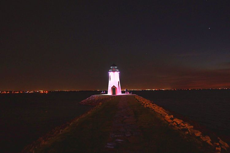 Lighthouse #Lake Architecture Building Exterior Sky Built Structure Night Water Illuminated Tower Lighthouse Building Nature Guidance Land Direction Beach Horizon Outdoors EyeEmNewHere