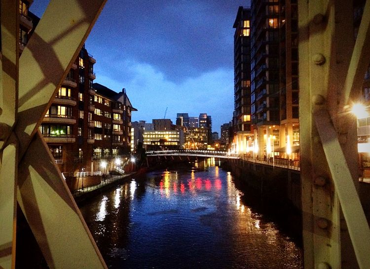 Bridge Canal Riverside River Water Water Reflections City Cityscapes Manchester Buildings Building IPhoneography