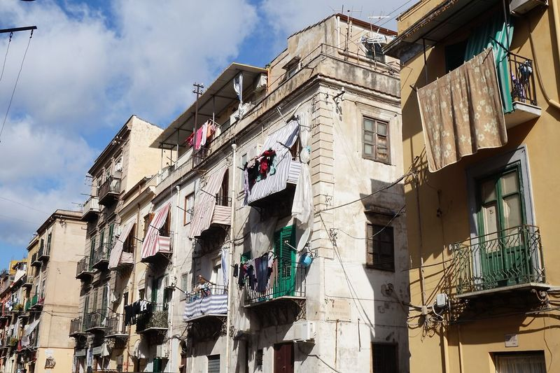 Low Angle View Building Exterior Architecture Balcony Sky Façade Outdoors Cloud - Sky No People Day Palermo Sicily Italy Low Politics And Government