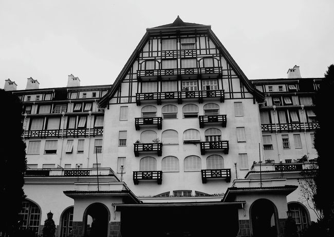 Architecture Façade Built Structure Building Exterior History Low Angle View No People Travel Destinations City Politics And Government Day Government Outdoors Clock Sky Cityscape Clock Face Palacio Quitandinha Petrópolis Beauty In Nature Nature Tranquility Architecture Cloud - Sky Residential Building Black And White Friday
