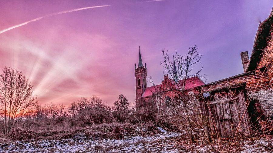 Morning Sunrise Sunrays Purple Sky Church Poland Canon Sigma Wide Angle